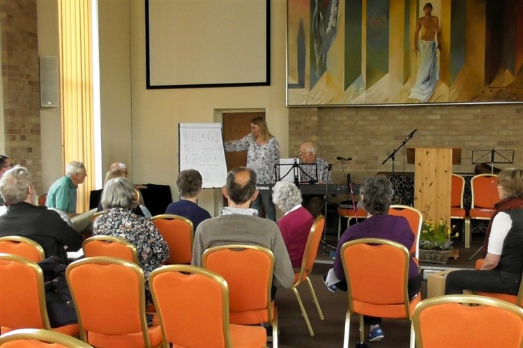 Harold and Katie led the music workshop to create a a hymn of thanks