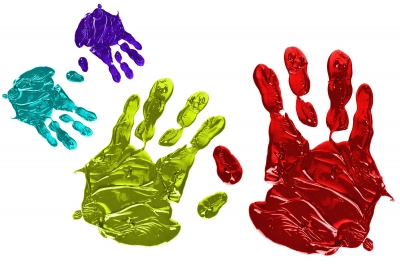 colour hand prints - ideas go